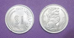 1967 Singapore $1 Stylized Lion coin