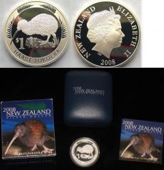 2008 New Zealand Kiwi Icons 1 Silver Proof Coin