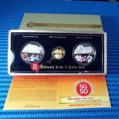 2015 Singapore 50th Anniversary SG50 Deluxe 3-in-1 Commemorative Coin Set ( Gold, Silver & Cupro-Nickel Set )