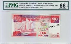 """Singapore Ship Series $10 SOLID Number """"444444"""" 66 EPQ"""